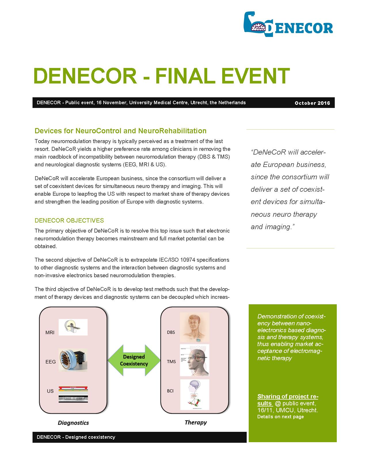 Pre-announcement DeNeCoR Dissemination event